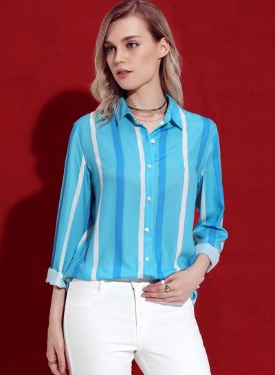 Striped Long Sleeve Turn-Down Collar Loose Button Down Shirt