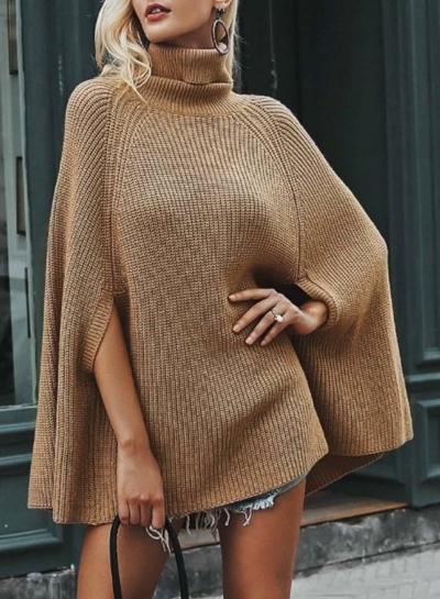 Turtleneck Chunky Sweater Cloak