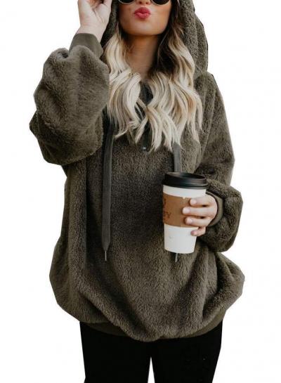 Casual Long Sleeve Loose Sweatshirt Hooded With Pockets stylesimo.com