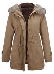 Casual Parka Coat with Faux Fur Trim Hood