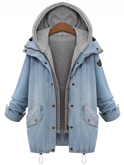 Two Pieces Denim Coats with Hoodie Vest