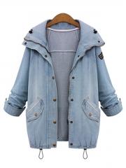 Two Pieces Denim Coats with Hoodie Vest