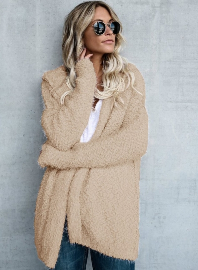 Sugar Girl Khaki Faux Fur Coat
