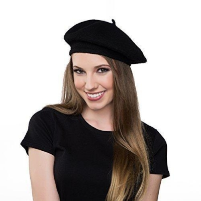 Wool Black Beret Hat - French Beret