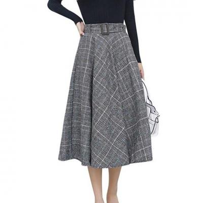 Elastic Waist Belted Cotton Plaid Midi Skirt