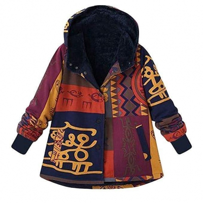 Fashion Ethnic Boho Print Inner Cotton Coat