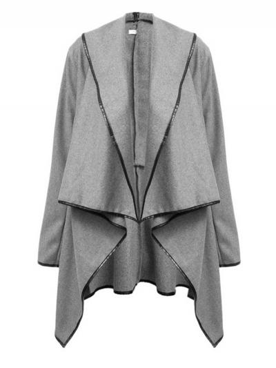 Long Sleeve Shawl Collar Piping Plus Size Coat STYLESIMO.com