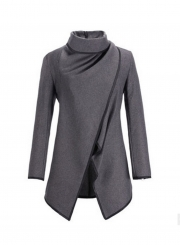Long Sleeve Shawl Collar Piping Plus Size Coat