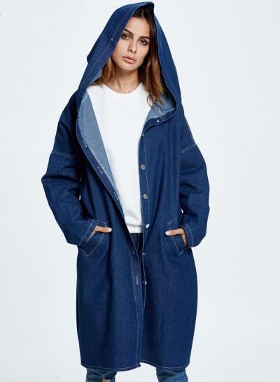Hooded Long Jean Coat Casual Long Sleeve Denim Jacket Outwear Overcoat