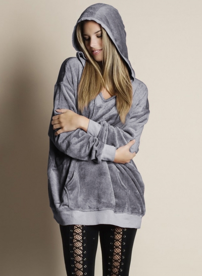 Casual Long Sleeve Fleece Loose Solid Color Pullover Hoodie