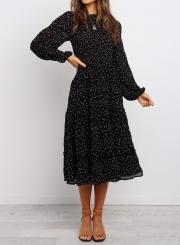 Polka Dot Print Ruffled Midi Dress In Black