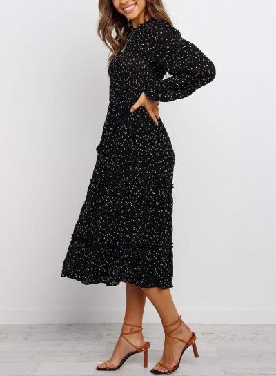 Polka Dot Print Ruffled Midi Dress In Black stylesimo.com