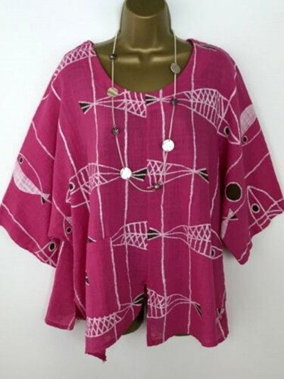 Half Sleeve Casual Floral-Print Blouse STYLESIMO.com