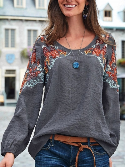 Gray Long Sleeve Cotton-blend Crew Neck Plain Shirts & Tops