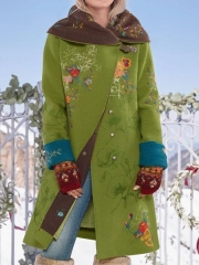 Coat Cotton-Blend Floral Casual Hoodie Outerwear