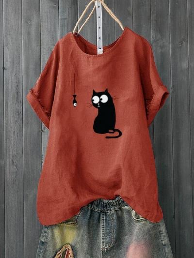Cartoon Print Cute Short Sleeve Casual T-Shirt