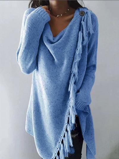 Long Sleeve Cowl Neck Plain Cotton-Blend Shirts & Tops stylesimo.com