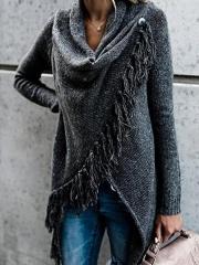 Long Sleeve Cowl Neck Plain Cotton-Blend Shirts & Tops