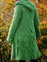 Floral Hooded Knitted Cardigan Plus Size Outerwear