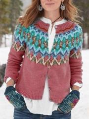 Casual Long Sleeve Printed Sweater Cardigan