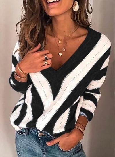 Plus Size Long Sleeve V Neck Geometric Casual Sweater stylesimo.com
